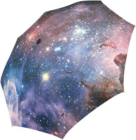Earth Galaxy Space Travel Umbrella Windproof,Anti UV Compact Umbrellas for Women Men kids,Sturdy Automatic Folding Umbrella
