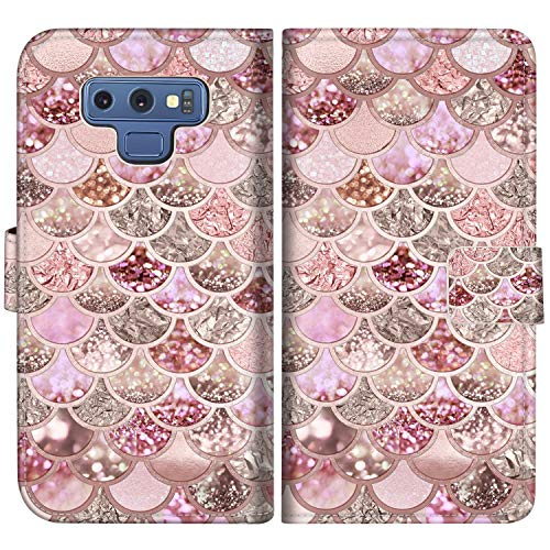 Sakuulo Mermaid Glitter Pattern Flip Wallet Case for Samsung Galaxy Note9 PU Leather Case with Multi Credit Card Holders ID Slot Pockets Folio Magnetic Closure Cover for Samsung Galaxy Note 9