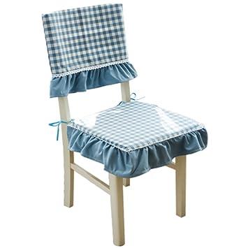 OSHDKSLDS Europäische Abnehmbare Esszimmer Stuhl Kissen, Blau Gitter Stoff Stuhl  Kissen Abdeckung Computer Stuhl Stuhlkissen