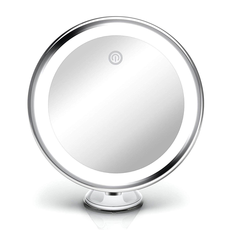 20 cm Breit Make-Up Schminkspiegel mit Blendfreier Beleuchtung Starker Saugnapf Fancii Kosmetikspiegel mit Dimmbares LED Licht 10-facher Vergr/ö/ßerung USB oder Batterie