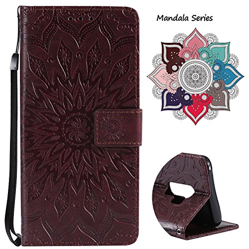 Leather Wallet Case for Samsung Galaxy S9 Plus (2018 Release), Credit Cards & Changes Holder, Colorful Art Mandala Design, Magnetic Durable Flip Cover Kickstand case for S9 Plus(6.2 inch)-Brown