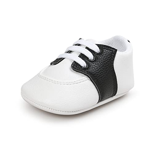 c8c63f58 Fire Frog Baby Saddle Shoes for Boys Girl Infant Lace-up Sneakers Black 0-