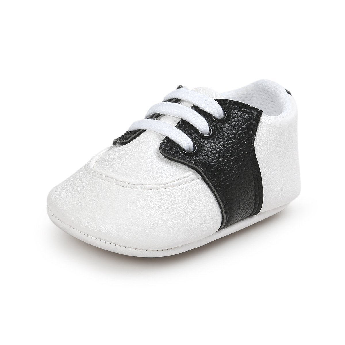 Fire Frog Baby Saddle Shoes for Boys Girl Infant Lace-up Sneakers Black 0-6 Months
