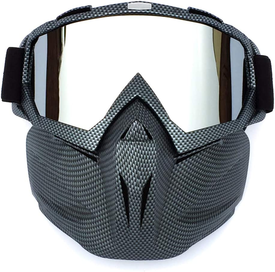 Byilx - Máscara para Casco de Bicicleta, Resistente al Viento, antiempañamiento, Color Fibra de Carbono, tamaño Talla única