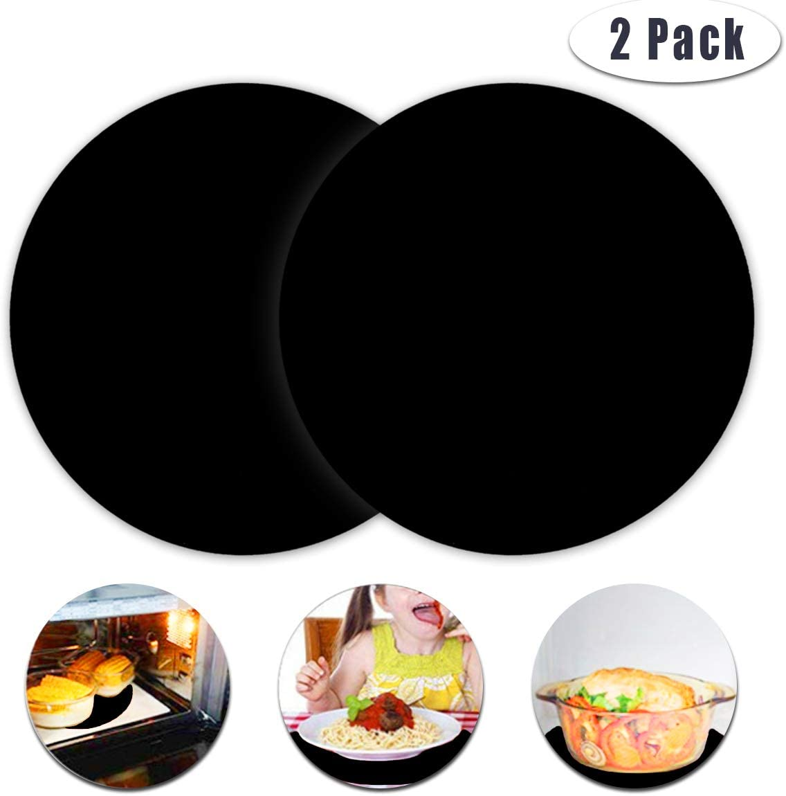 2 Pack Multi-Purpose Silicone Microwave Mat, 12 Inch Non Stick Silicone Baking Mats Oven Mat for Bottom of Oven, Heat Resistant Oven Mat Microwave Trivet Mat (Black)