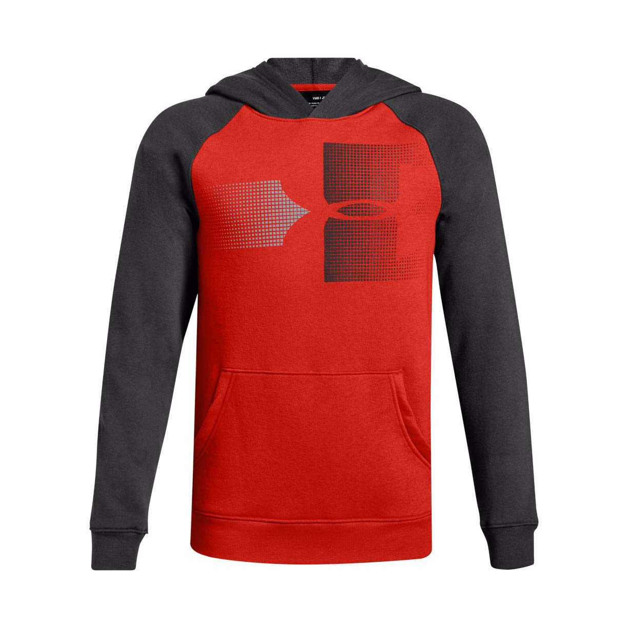 Under Armour Boys Rival Logo Hoodie, Radio Red (891)/Charcoal, Youth Medium by Under Armour