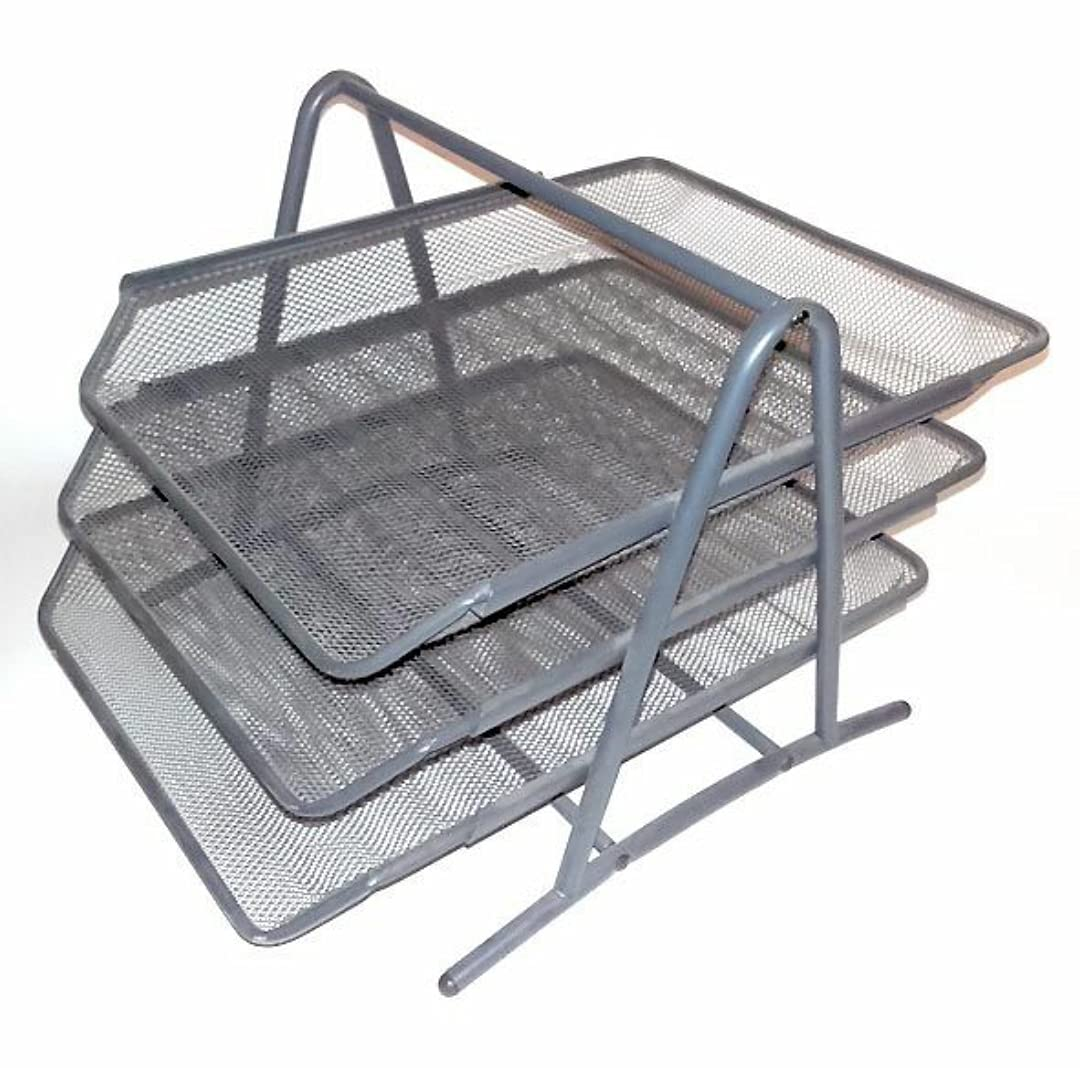 Ikea Office Table Top Letter Tray, Stainless-Steel, Silver, 29 x 35 x 25 cm