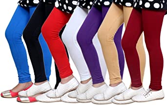 Indistar Big Girls Cotton Full Ankle Length Solid Leggings -Multiple Colors-9-10 Years Pack of 6