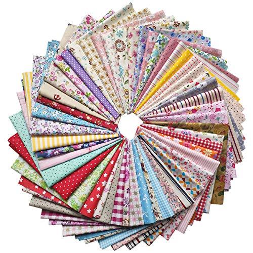 Gnognauq 50 pcs Different Patterns Cotton Craft Fabric Bundle Squares Precut Fabric Square Sheets Patchwork Fabric Sets for DIY Sewing Scrapbooking Quilting (30x30cm) -