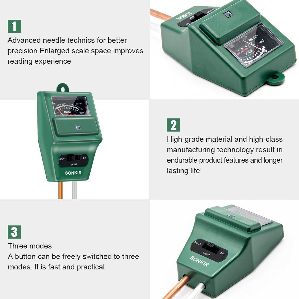 Sonkir Soil pH Meter, 3-in-1 Soil Moisture/Light/pH Tester Gardening Tool Kits for Plant Care, Great for Garden, Lawn, Farm, Indoor & Outdoor Use (MSO2 Soil pH Meter) by Sonkir (Image #8)