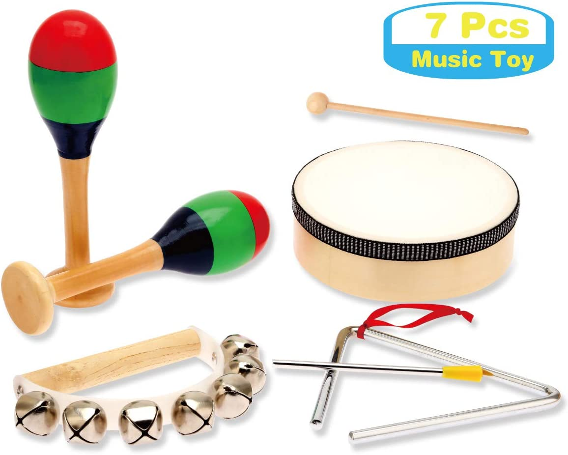 MUSICUBE 7 Pcs Kids Wood Musical Instruments, Percussion Set with Drums for Kids Children Musical Toys for School, Music Center: Toys & Games