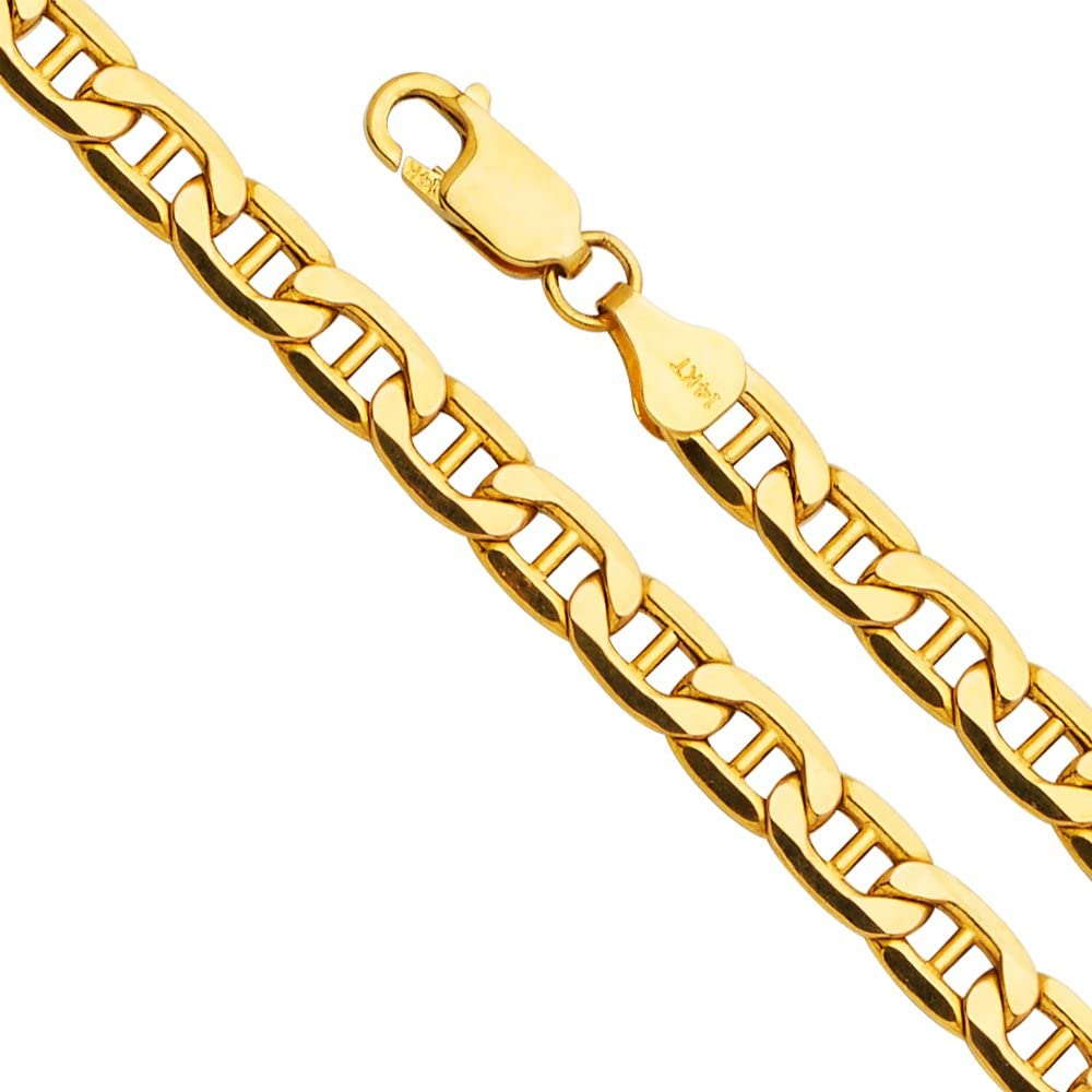 """14k REAL Yellow Gold 6.2mm Hollow Mariner Bevel Chain Bracelet with Lobster Claw Clasp - 8"""""""