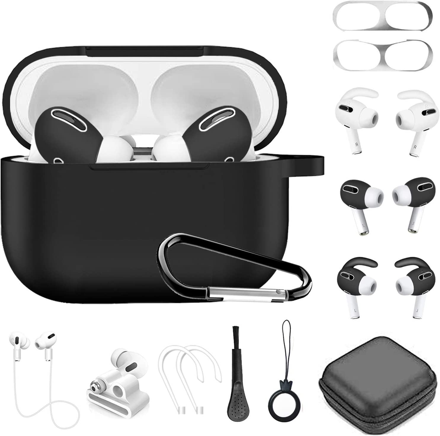 Airpods Pro Case, 12 in 1 Silicone Airpod Pro Accessories kit Set, Apple Airpods 3 Charging Case Cover Skin with Ear Hook/Earbuds Case/Watch Band Holder/Brush/Keychain/Dust Sticker/Eartips (Black)