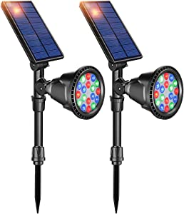 DBF Solar Lights Outdoor, 18 LED Waterproof Solar Landscape Lighting Solar Spotlight Color Changing Auto/Lock Solar Powered Landscape Lights for Garden Patio Yard Pool Pond Area Decorative, Pack of 2