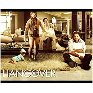 The Hangover 8 inch x 10 inch PHOTOGRAPH Stu Looking at Missing Tooth Phil Holding a Pillow Alan No Pants and Baby in Sunglasses Movie Poster Photo D