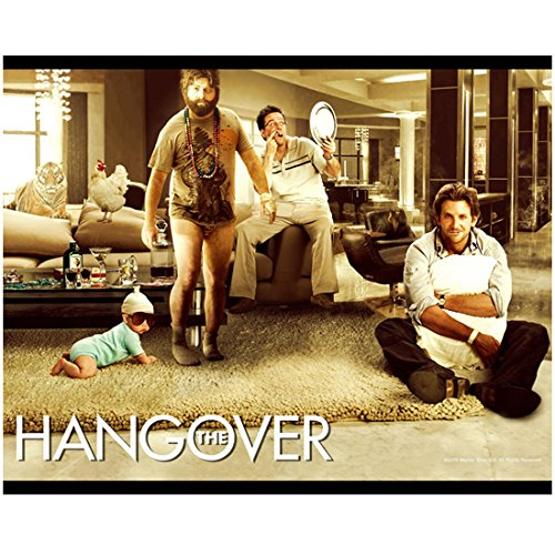 The Hangover 8 inch x 10 inch PHOTOGRAPH Stu Looking at Missing Tooth Phil Holding a Pillow Alan No Pants and Baby in Sunglasses Movie Poster Photo - Baby Sunglasses Hangover