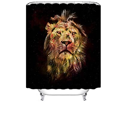Amazon Cheerhunting Black Gold Lion Shower Curtain With Hooks