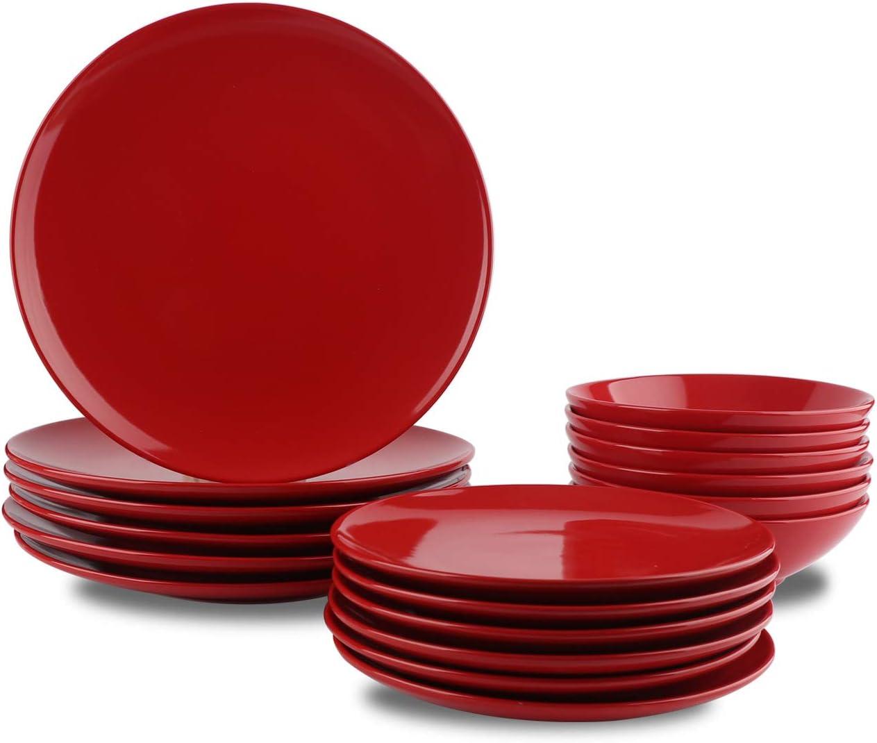 AmazonBasics - Vajilla de gres para 6 personas, color Rojo intenso, 18 piezas