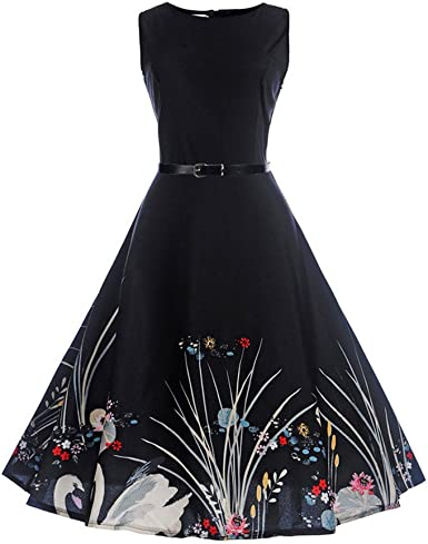 KYLEON Womens Dresses 1950s Vintage Floral Printed Sleeveless Cocktail Prom Evening Party Formal Tea Swing Dress Summer