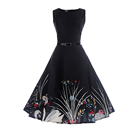 Birdfly Summer Women Vintage Hepburn Style Pure Black White Hem