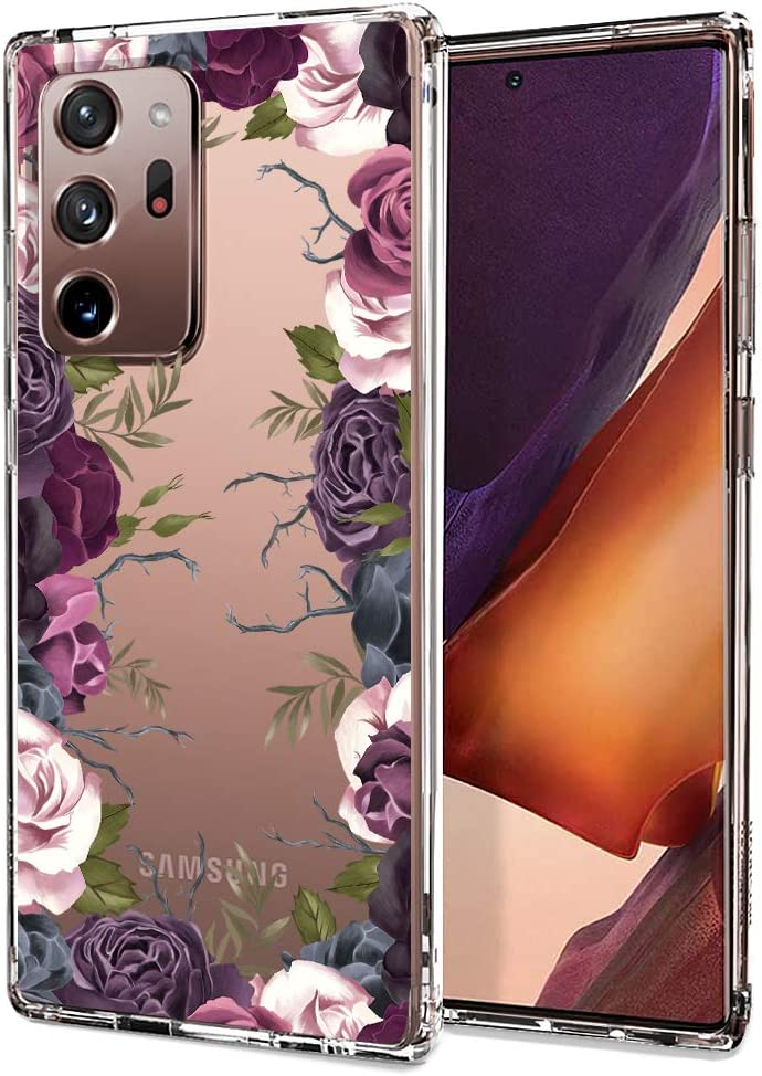 for Samsung Galaxy Note 20 Ultra Case, for Samsung Galaxy Note 20 Ultra 5G Case, MOSNOVO Clear Slim Soft TPU + PC Cover Case with Violet Garden Floral Design Case for Galaxy Note 20 Ultra (2020)