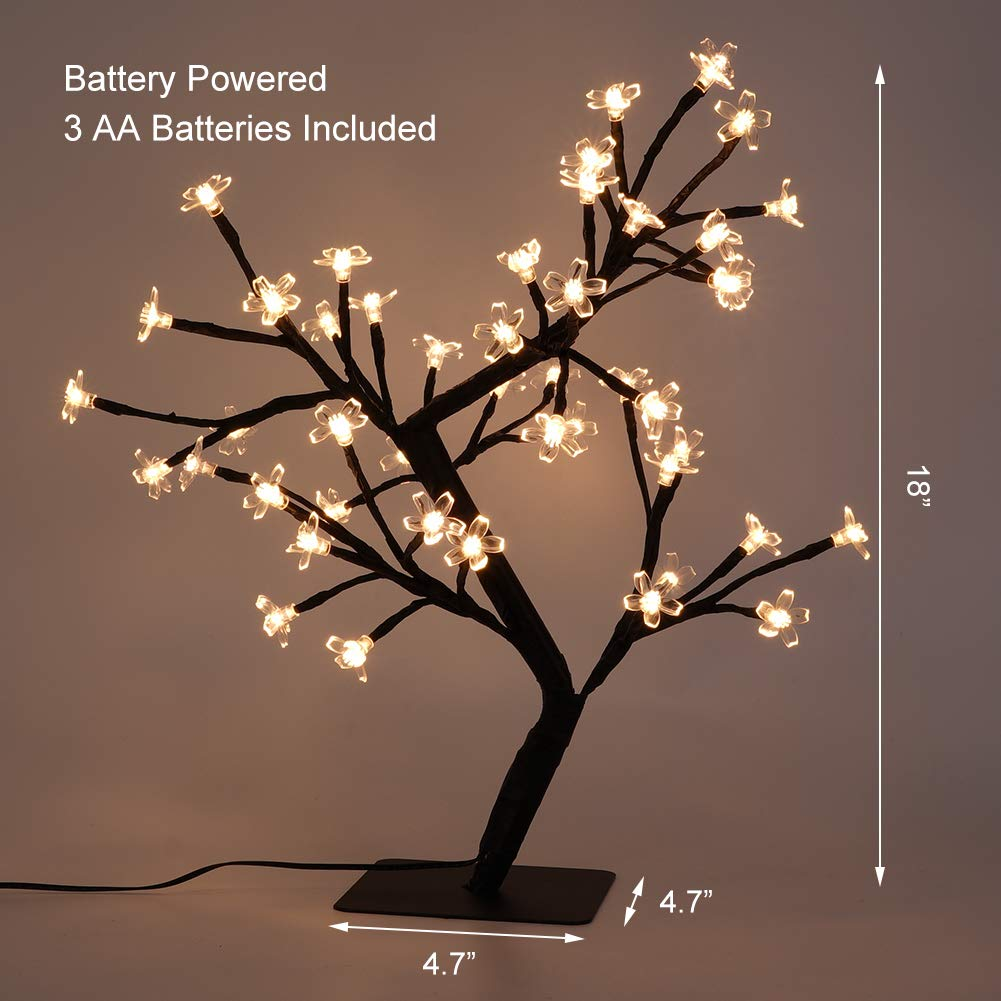 LED Cherry Blossom Light Tree - 19.6 inch Tabletop 48 LEDs Bonsai Tree Light, Black Branches Clear Flower, Perfect for Home Festival christmas Party Wedding Indoor Outdoor Decoration, Warm White