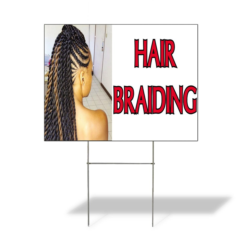 Hair Braiding #1 Outdoor Lawn Decoration Corrugated Plastic Yard Sign - 12inx18in, Free Stakes