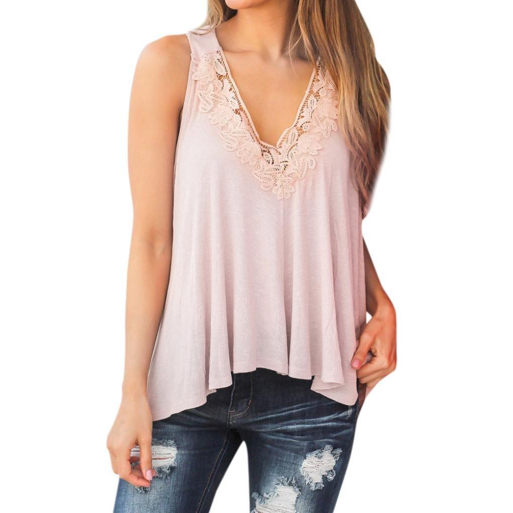 QinMM Damen Sommer Spitze Weste Top Kurzarm Bluse L/ässig Tank Tops T-Shirt Perspektive Sommer Tops Stilvolle Rosa S-XL