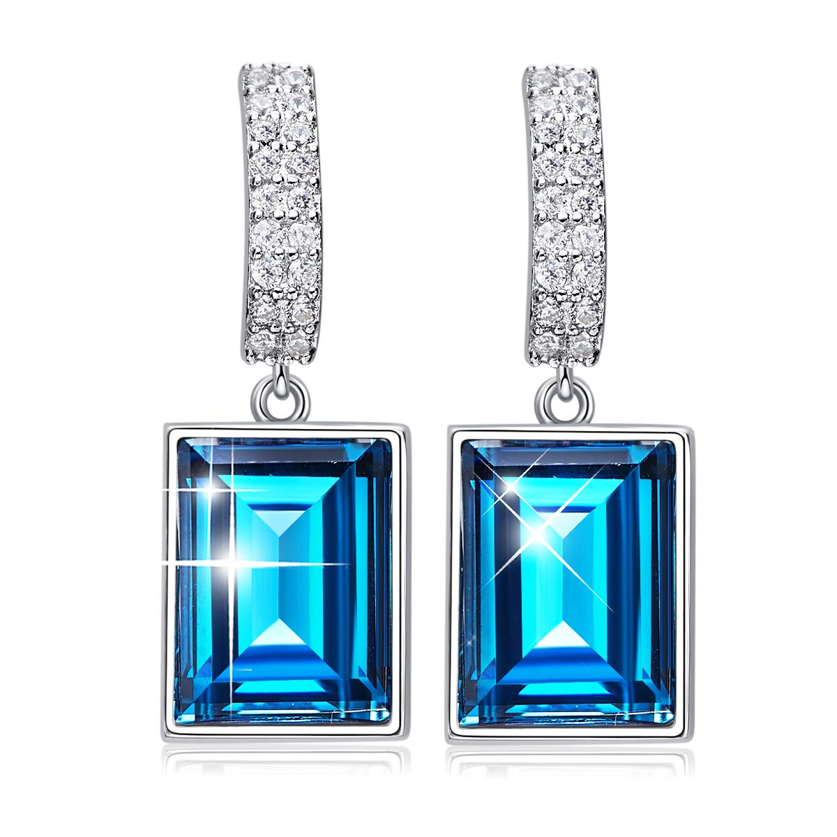 CDE 925 Sterling Silver Dangle Drop Earrings Swarovski Crystals Sapphire Fine Jewelry for Women Gift (Magical Meteorite) by CDE (Image #1)