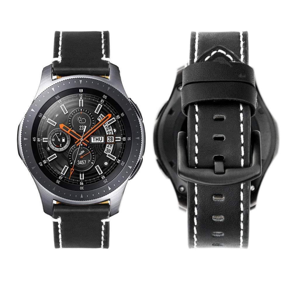 iBazal Gear S3 Frontier Classic Correa Cuero Piel 22mm Pulseras Bandas Compatible con Galaxy Watch 46mm,Huawei GT/2 Classic/Honor Magic,Ticwatch ...