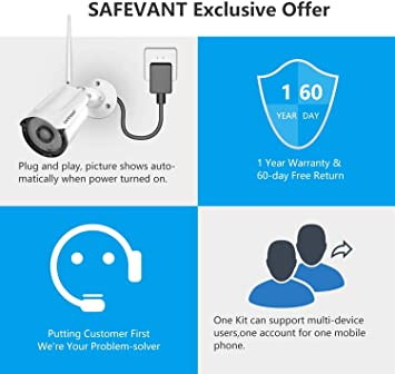 1080P Wireless Security Camera System with 1TB Hard Drive/&10.1 inches Monitor SAFEVANT 8 Channel Video Security Systems 4pcs 2.0MP 1080P Indoor Outdoor Home IP Cameras Night Vision Motion Detection Smart All in One
