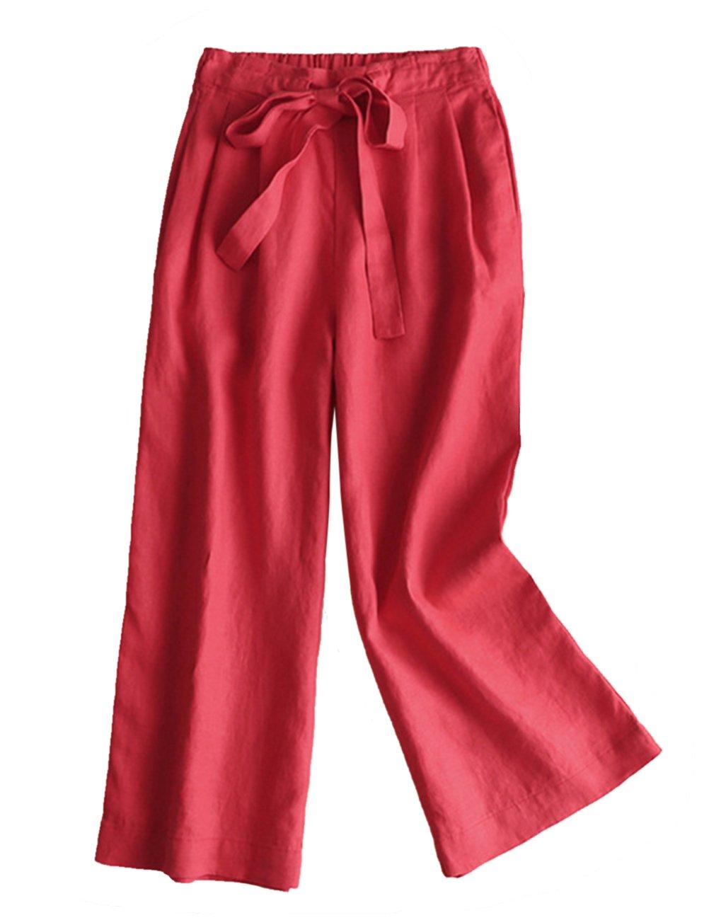 IXIMO レディース リネン ロングパンツ ワイド パンツ 無地 ウェストゴム ドロスト プリーツ入り ゆったり カジュアル きれいめ ワイドパンツ ズボン 6色展開 B07C71TGR7 M|レッド レッド M