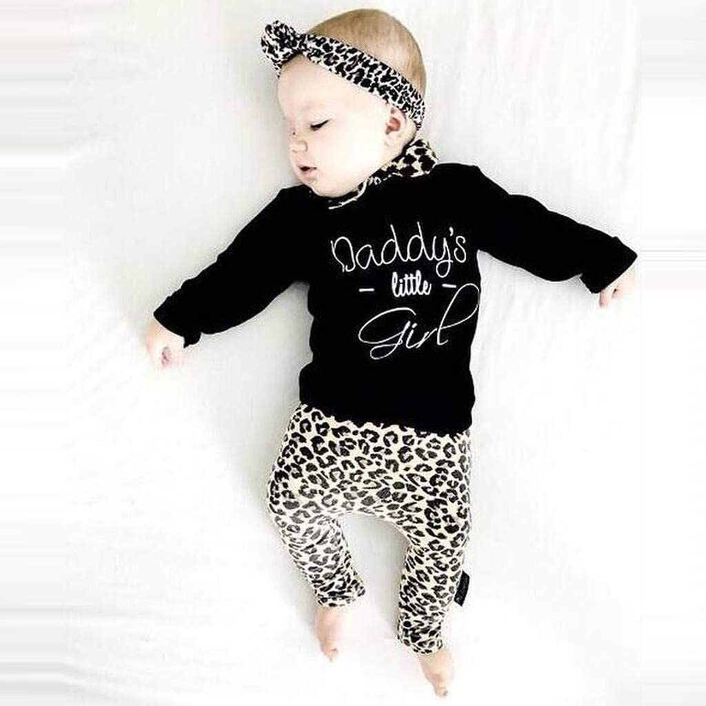 Sameno Fashion Newborn Infant Baby Girl Letter T Shirt Tops+Leopard Print Pants Set Clothes