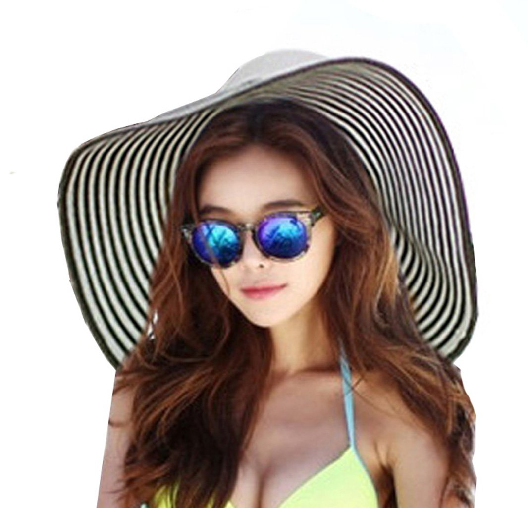 Women's Foldable Floppy Striped Straw Hat Wide Brim Beach Hat Sun UV Protection Visor Cap Roll up Sun Hat for Holiday