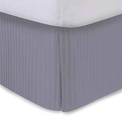 BudgetLinen Faldón de Cama Plisado de 400 Hilos, 100% algodón Egipcio, 40 cm de caída, algodón, Silver_Grey, Doublé: Amazon.es: Hogar