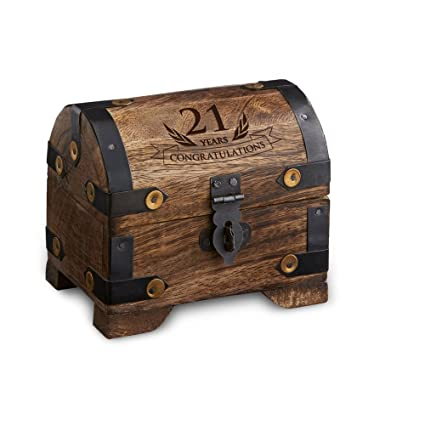 Casa Vivente Engraved Treasure Chest for 21st Birthday - Small - Dark Wood - Jewelry Box  sc 1 st  Amazon.com & Amazon.com: Casa Vivente Engraved Treasure Chest for 21st Birthday ...