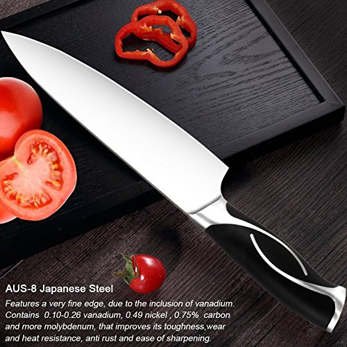 Professional 8 inch Chef Knife for Kitchen - Japanese Stainless Steel High Carbon Sharp Knives for Cutting Meat, Dicing Vegetables, Chopping, Slicing, Carving Food & More, with Gift Case, By Zvpod by  (Image #1)
