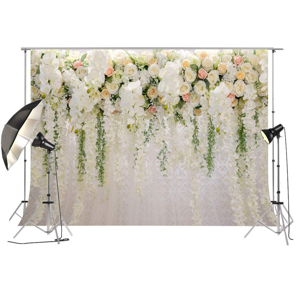 Bridal Shower Large Wedding Floral Wall Backdrop White and Green Rose 3D Flowers Curtain Dessert Table Decoration Blush Background for Photography XT-6749