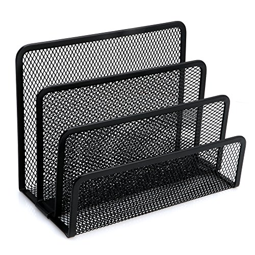 Tairacy Mesh File Holder Letter Sorter Mail Document Tray Desk Office Organizer Literature 3 Compartments