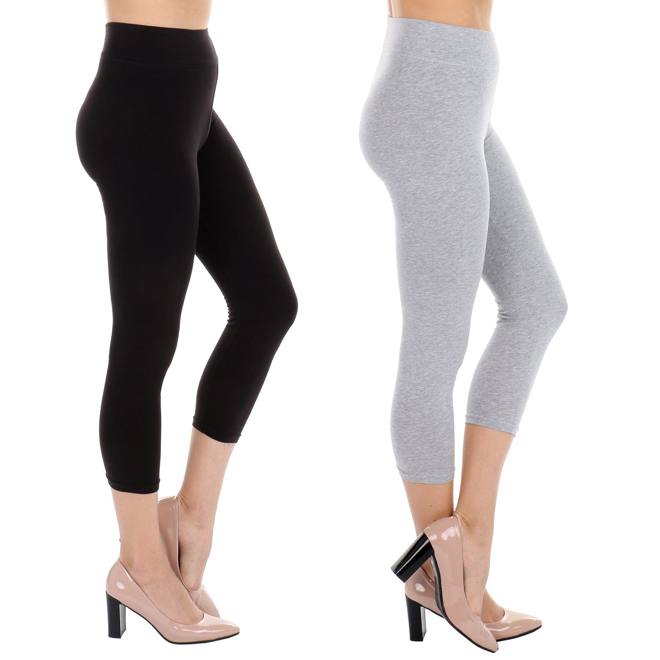 TODAY SHOWROOM Cotton Capri- Non See Thru Fabric-Yoga Waist Cropped Leggings (2pk (Black/H.Grey), Large)
