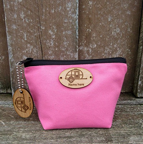 Teardrop Trailer Personalized Cosmetic Bag with Matching Keychain by Camping and Teardrops