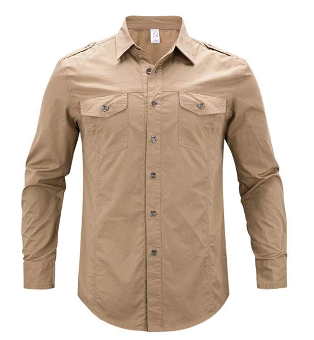 BLTR Men Quick Dry UV Protection Solid Long Sleeve Button Down Shirt