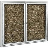 Best-Rite 2-Door Keyed 48'' x 48'' Self Healing Rubber-Tak, Satin Aluminum Frame Bulletin Board 94PSD-I-95