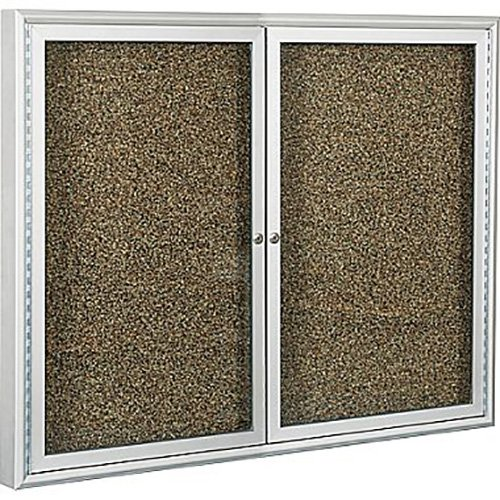 Best-Rite 2-Door Keyed 48'' x 48'' Self Healing Rubber-Tak, Satin Aluminum Frame Bulletin Board 94PSD-I-95 by Best-Rite