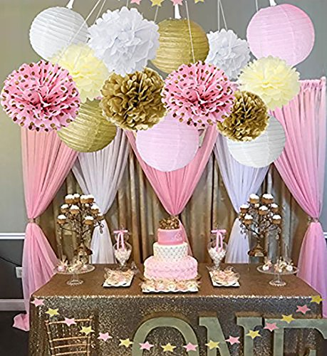 Wcaro Mixed Pink Gold White Party Decor Kit Paper Lantern Paper Star  Garland Tissue Pom Poms Hanging Flower Ball For Wedding,Birthday,Baby,Bridal  Shower ...