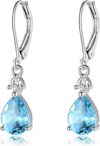 Blue Topaz 925 Silver Earrings Silver topaz earrings 925 hammered silver topaz earrings s 2486 Handmade Round Silver Blue Topaz Earrings