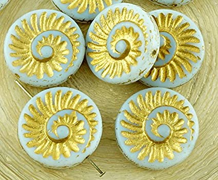4pcs Ab White Nautilus Fossil Snails Seashell Ammonite Flat Round Spiral Coin...