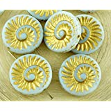 4pcs White Alabaster Opal Matte Gold Patina Wash Nautilus Fossil Snails Seashell Ammonite Flat Round Spiral Coin Czech Glass Beads 18mm