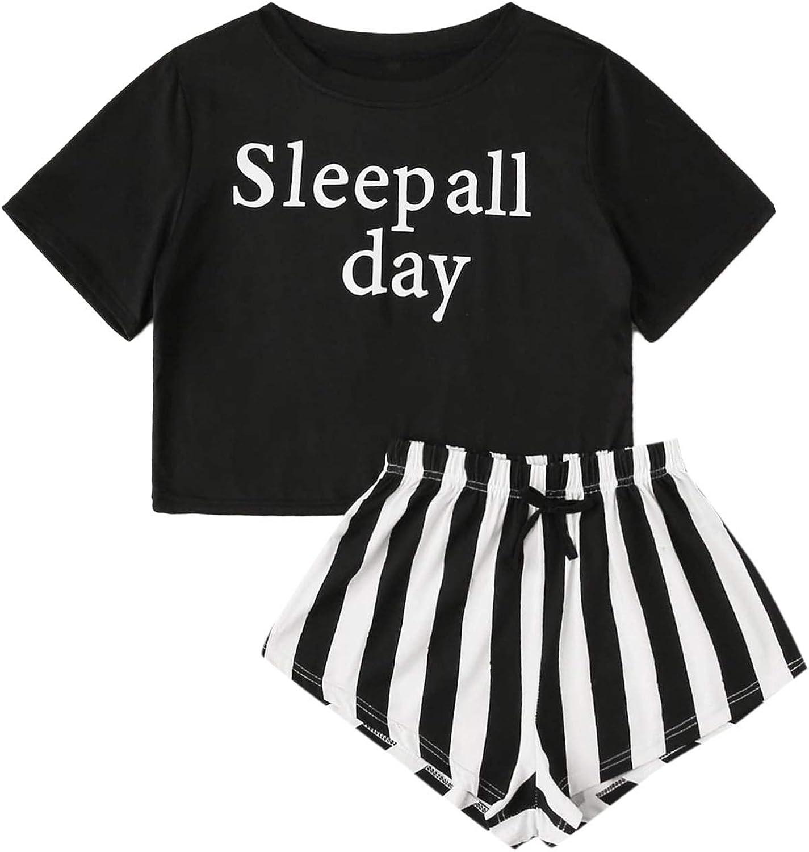 DIDK Damen Kurz Schlafanzug mit Slogan Pyjama Set Streifenhose Hausanzug Sommer Sleepwear