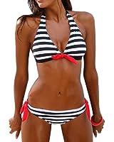 Hot Sale!Women Bikini Set,Canserin Women's Striped Bandage Two-Piece Swimsuit Bikini Set Swimwear Beachwear Bathing Suit